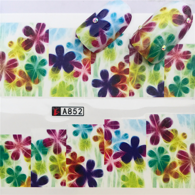 1 Sheets Mixed Flowers  Nail Art Water Transfer Sticker For Nails Tips Decorations Manicure Tools