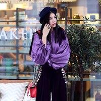 AIGYPTOS-MX]Spring Autumn Women Novelty Vintage Personality Lantern Sleeve Tassel Tie Collar Loose All-Match Basic Shirt Purple