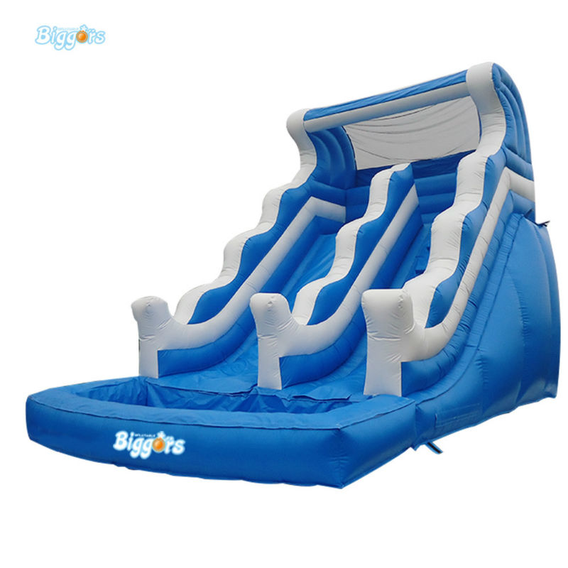 Blue Color Commercial Grade Inflatable Pool Slide For Amusement Park commercial inflatable water slide with pool made of pvc tarpaulin from guangzhou inflatable manufacturer