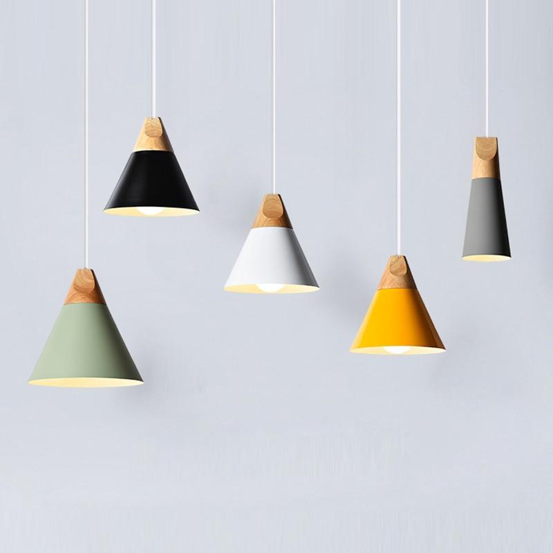 Modern led Pendant Lights Wooden+Aluminum Colorful Pendant <font><b>Lamps</b></font> For Restaurant/Bar Lighting luminaire Home <font><b>Decoration</b></font> lamparas