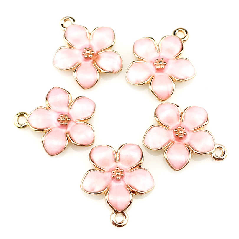 5pcs/lot  Light Gold Pink Peach Blossom Flower Pendant Jewelry Finding Making 22220
