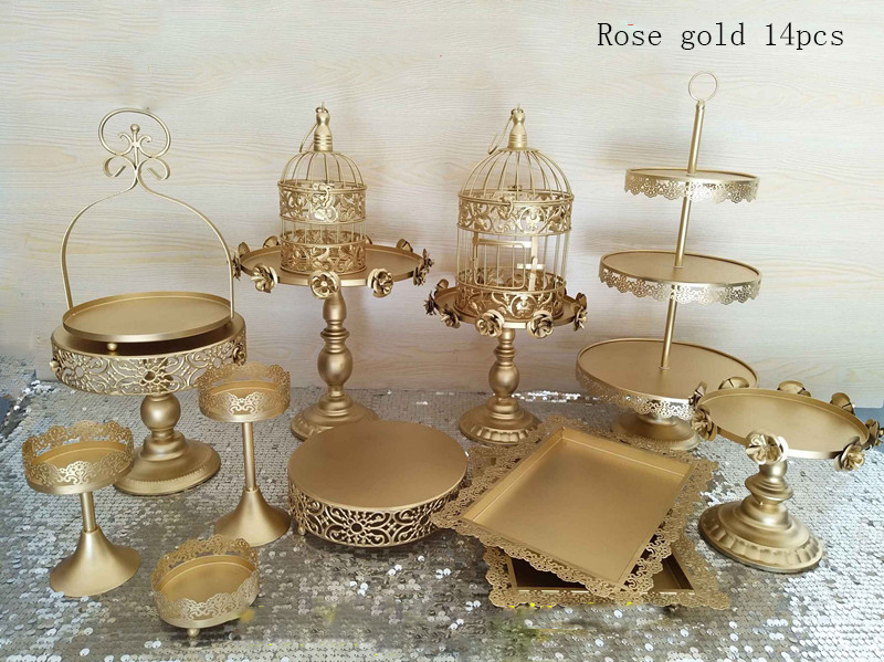 Gold Wedding Cake Stand Set 14 Pieces Cupcake Stand