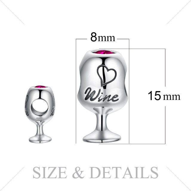 Wine Glass Ruby Silver Charm