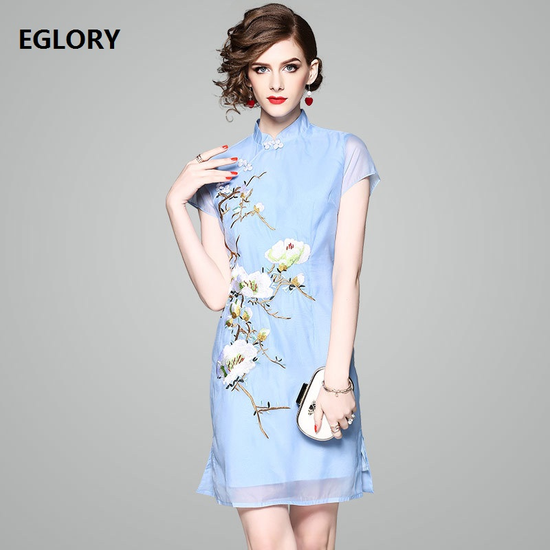 Dropshipping Women Dress New Brand Chinese Qipao Elegant Dress Noble Party Ladies Floral Embroidery Bodycon Dress Cheongsam XXL