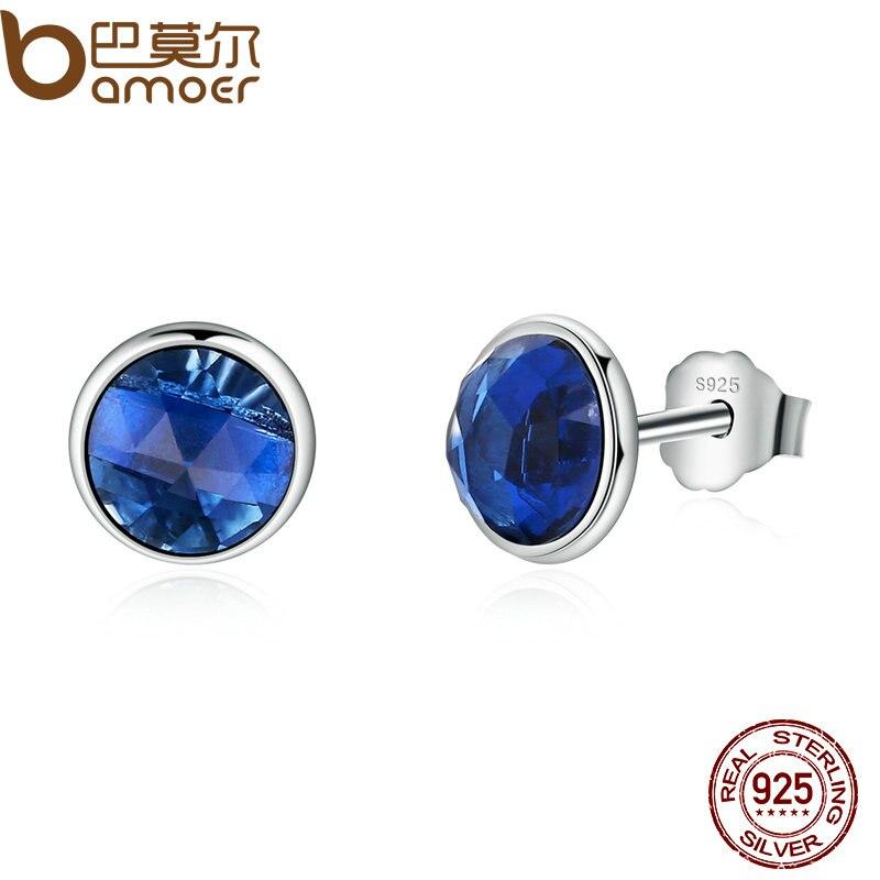 BAMOER genuino 925 plata esterlina Birthstone DE SEPTIEMBRE gotas de cristal azul, pendientes para las mujeres joyería de moda PAS501