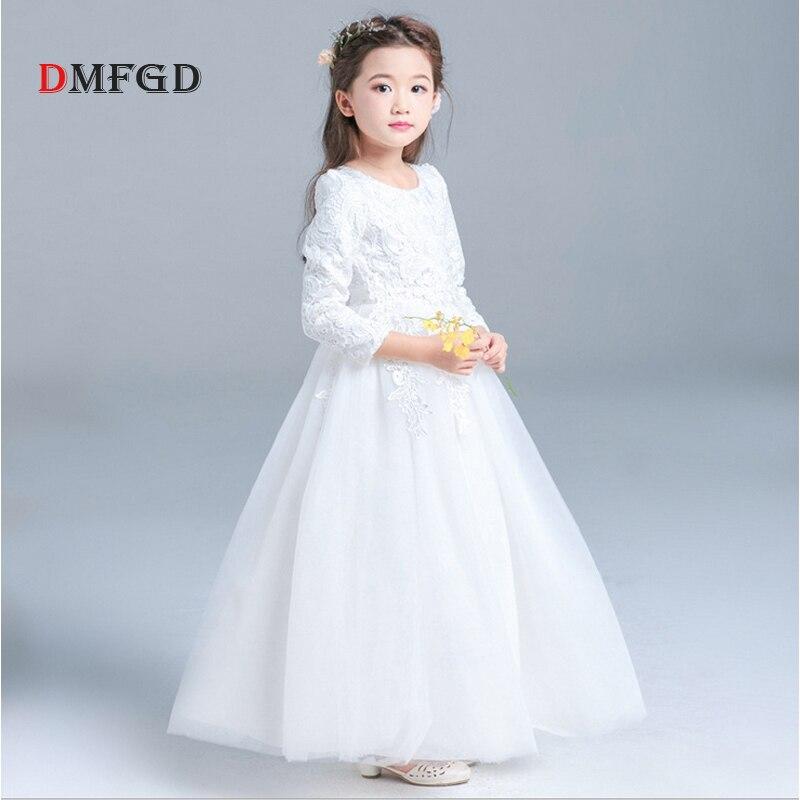 NEW Flower long sleeve pirncess girls dress high quality fashion kids costume children wedding party clothing dresses muqgew new fashion 2018 children party