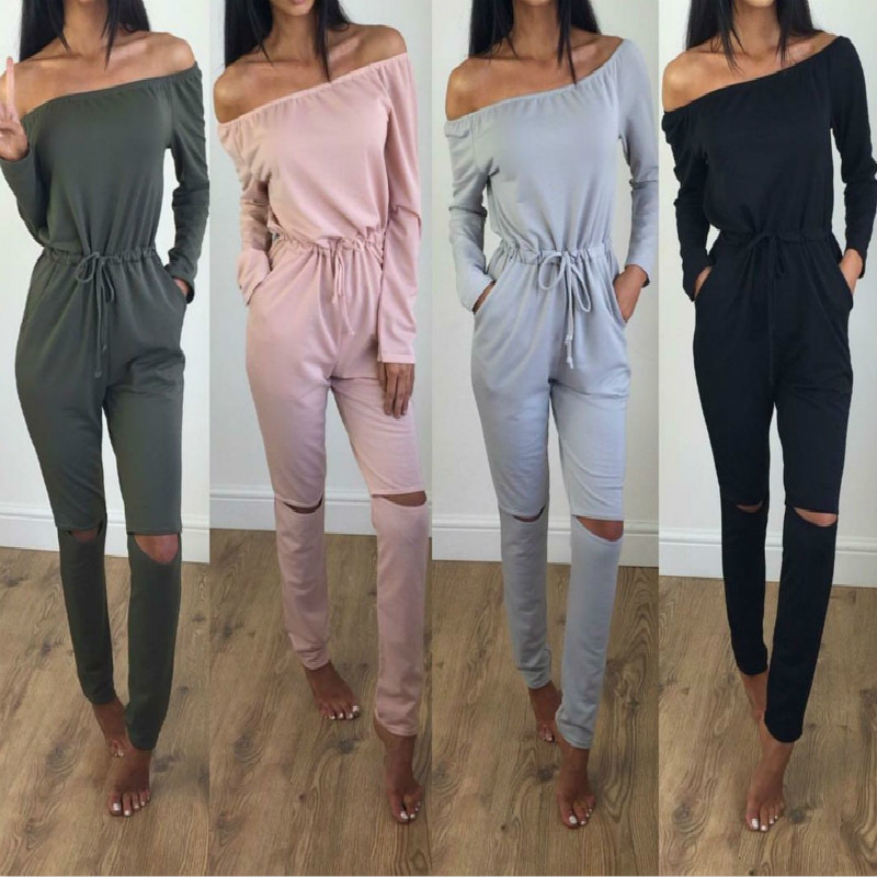 2017 Autumn Slash Neck Long Pants Women Rompers Jumpsuit One Piece Bodysuit