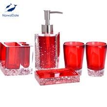 Ice Flower Acrylic Bathroom Accessories 5pc Set Topgrade Resin Amber Advanced Handcraft Holiday Gift Bath Room Decorative Tools