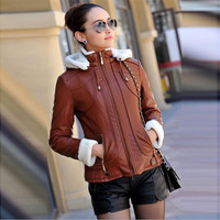 Women Winter Coat Leather Jacket Thick Hooded Warm Woman Jacket Female Overcoat High Quality Short Pu