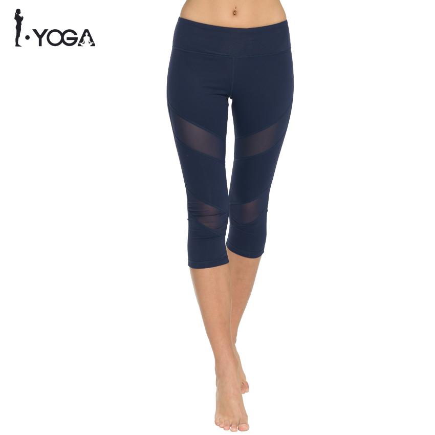 Women Yoga Fitness Sports Capris Leggings Pants High Waist Tights Running Gym Mesh Sport Workout Legging Stretch Training Pants цена