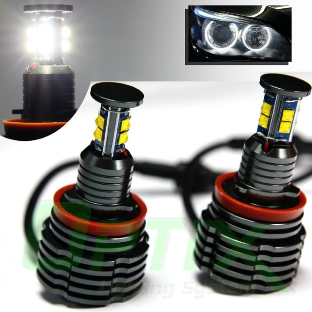 80 W H8 Wit 6000 k Angel Eyes Halo Ring LED Verlichting Voor BMW E82 ...