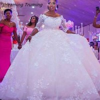 Long Sleeve African Ball Gowns Wedding Dress 2019 Appliques Lace See Through Plus Size Lace White Bridal Gowns Custom Made