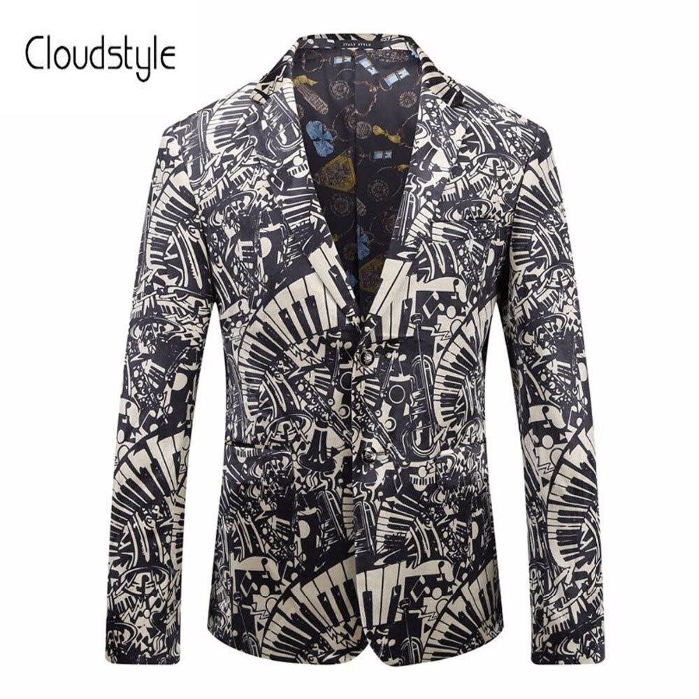 Cloudstyle 2018 Männliche Leistung Anzug Jacken Fashion Single Button Schwarz Und Weiß 3d Druck Mantel Party Zeigen Casual Blazer