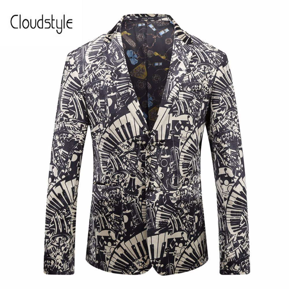 Cloudstyle 2018 Male Performance Suit Jackets Fashion Single Button Black And White 3d Print Overcoat Party