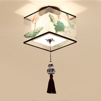 Chinese Round Square Ceiling Lights Fixtures Fabric for Living Room Aisle Shade Mounted Lampa Sufitowa Japanese Led Ceiling Lamp