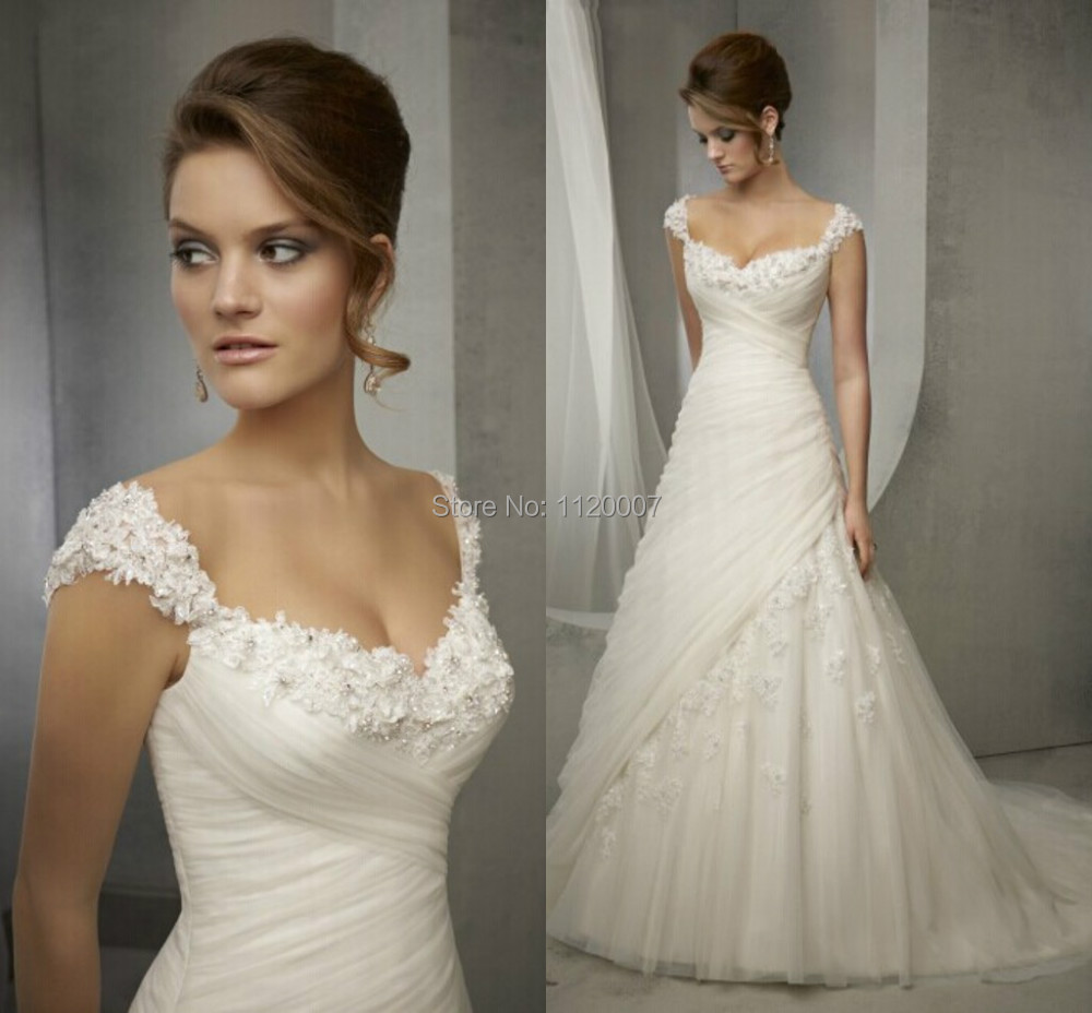 Vestido De Noiva Elegant Princess Ced Sleeves Wedding Dresses 2017 Sweetheart A Line Liques Bridal Gowns Small Train In From Weddings