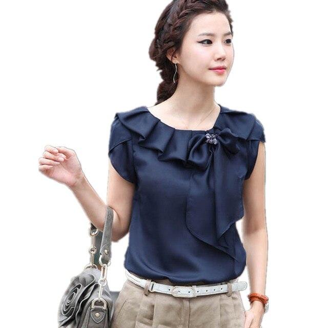 7304479b1 Plus Size Elegant Ruffles Bow O-Neck Women's Chiffon Blouse Office Summer  Women's Shirt Short Sleeve Chiffon Top Female Blouse