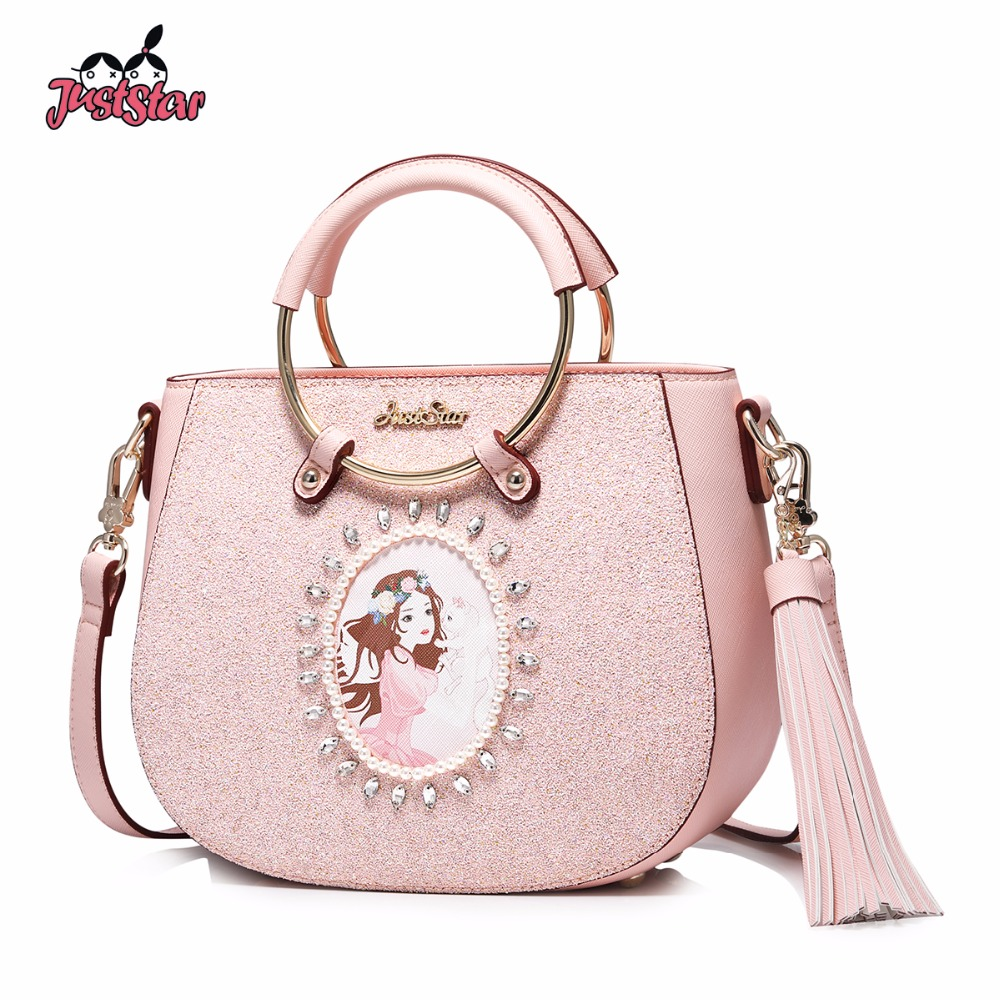 JUST STAR Women's PU Leather Handbag Ladies Cartoon Tassel Tote Shoulder Purse Female Saddle Leisure Messenger Bag JZ4456 women fashion tassel pu leather handbag shoulder bag small tote ladies purse comfystyle