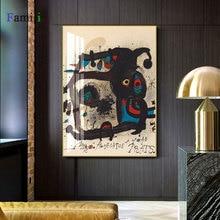 Pósteres e impresiones artísticos de pared de acuarela abstracta vintage affiche de Joan Miro, pintura en lienzo famosa para decoración del hogar para sala de estar