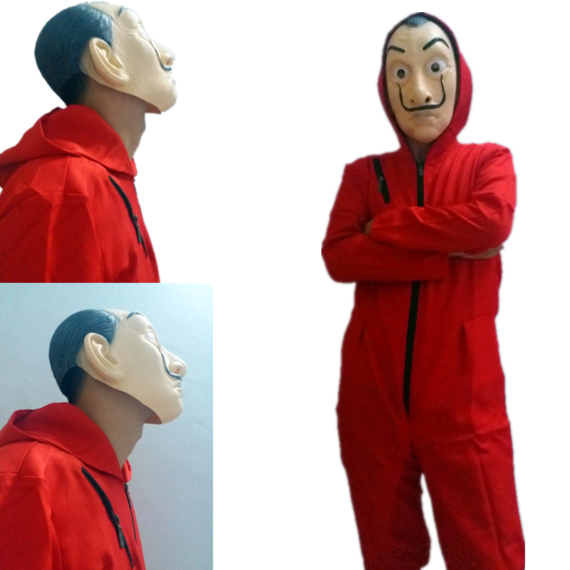 Salvador Dali Full Face Latex mask and Cosplay Costumes Adult kids Paper House La Casa De Papel  Red BodySuit Halloween clothing