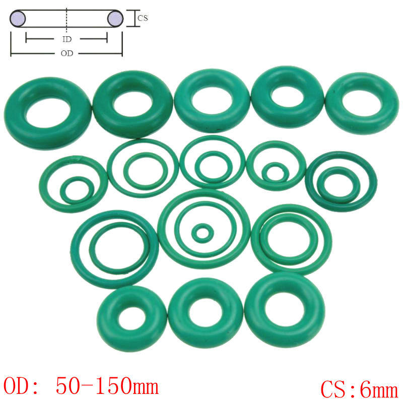 CS 6mm OD50-150mm Green Viton FKM Fluorine Rubber O Ring O-Ring Oil Sealing Gasket 100pcs lot 2mm thickness 8 22mm outside dia green viton fkm fluorine rubber o ring oil seal o ring gasket repair tool parts
