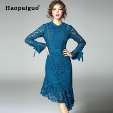 Large Size Blue Hollow Out Lace Dress Women O-neck Trumpet Work Office Solid Vintage Clothes 2019 Spring