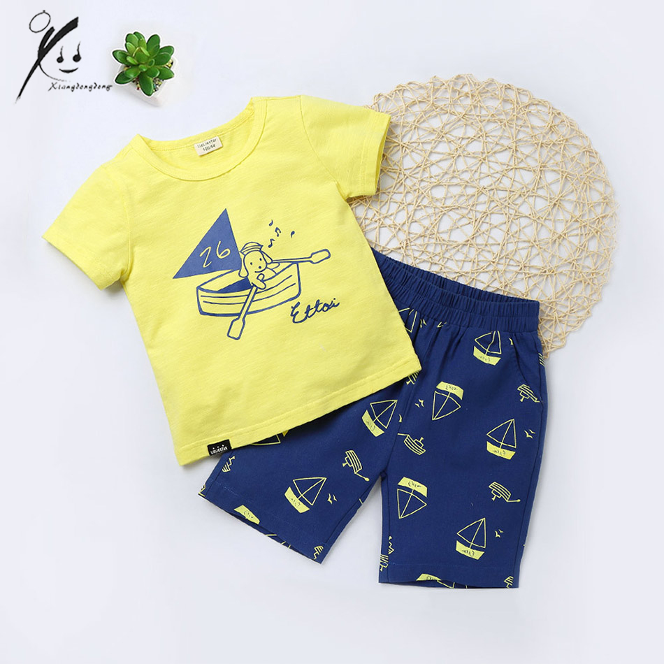 2017 summer cotton casual baby girl boy sets white pink yellow t-shirts+blue red pants 3-7t kids sport clothes suits XDD-X8039