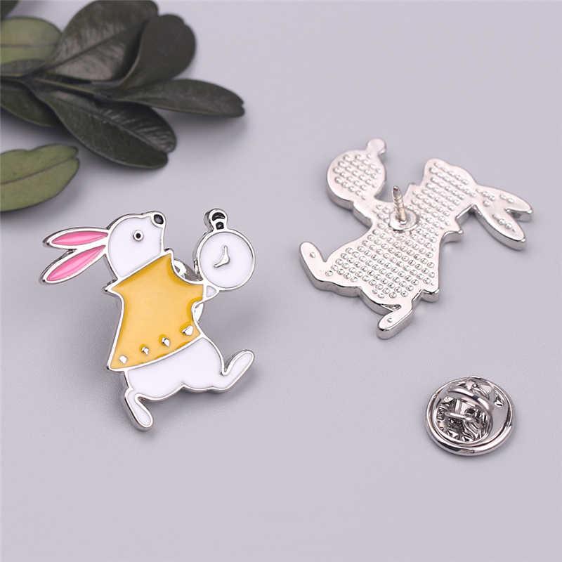 Baru Tiba Alice In Wonderland Pin Bros Kelinci Topi Enamel Pin Hewan Bros untuk Wanita Brocade Hadiah Ulang Tahun Pakaian Bros