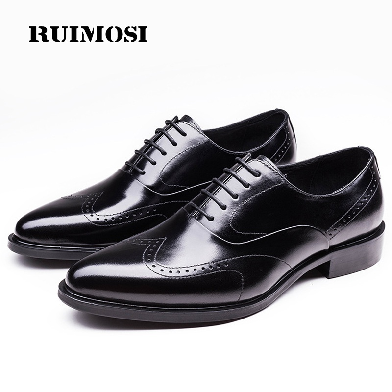 RUIMOSI Flat Platform Man Wing Tip Brogue Shoes Genuine Leather Bridal Oxfords Pointed Toe Men's Dress Flats For Wedding WD38