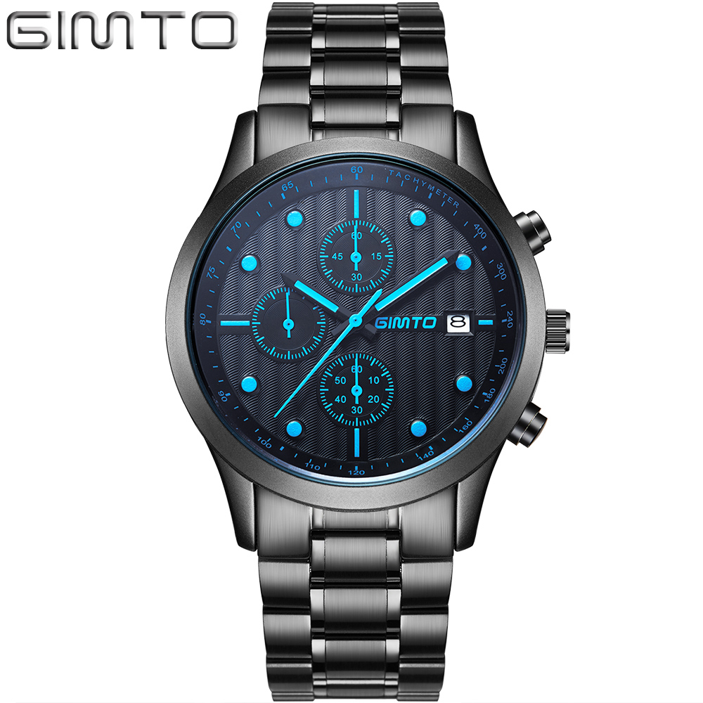 New GIMTO Brand Business Relogio Masculino Japan Movment Tungsten Steel Men Watch Full Steel Dress Casual Quartz Wrist watches цена