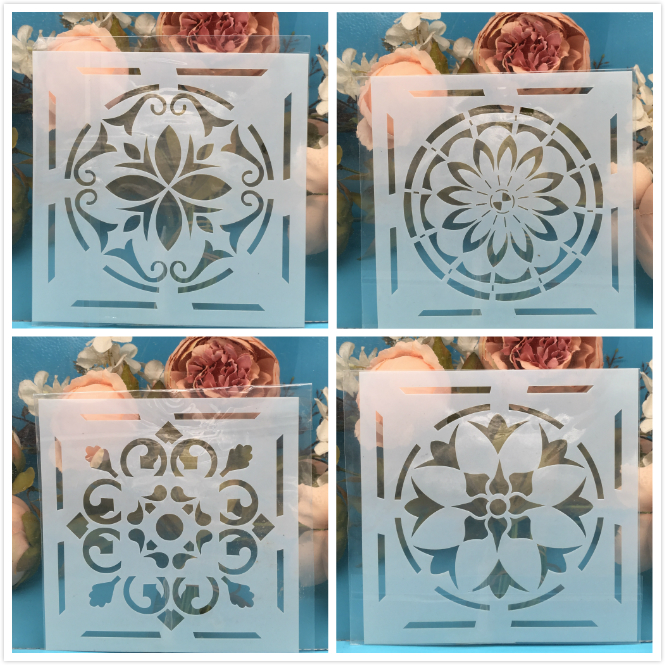 4Pcs/Lot 15cm Flower Square DIY Craft Layering Stencils Wall Painting Scrapbooking Stamping Embossing Album Paper Card Template