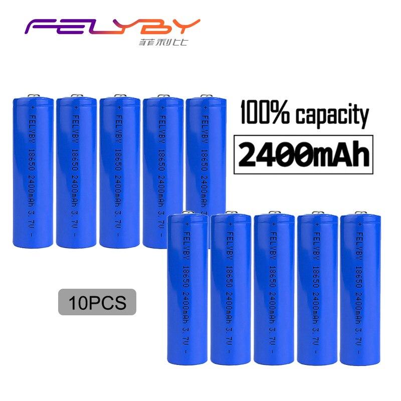 FELYBY FELYBY 10 pièces 3.7 V 2400 mAh Li-ion 18650 Nicd batterie de charge Rechargeable au Lithium pour lampe de poche avec chargeur