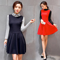 Plus Size Women Autumn Winter Dress Long Sleeve Patchwork Bodycon Ball Gown Dress Casual Party Cocktail Mini Dress Vestido Festa
