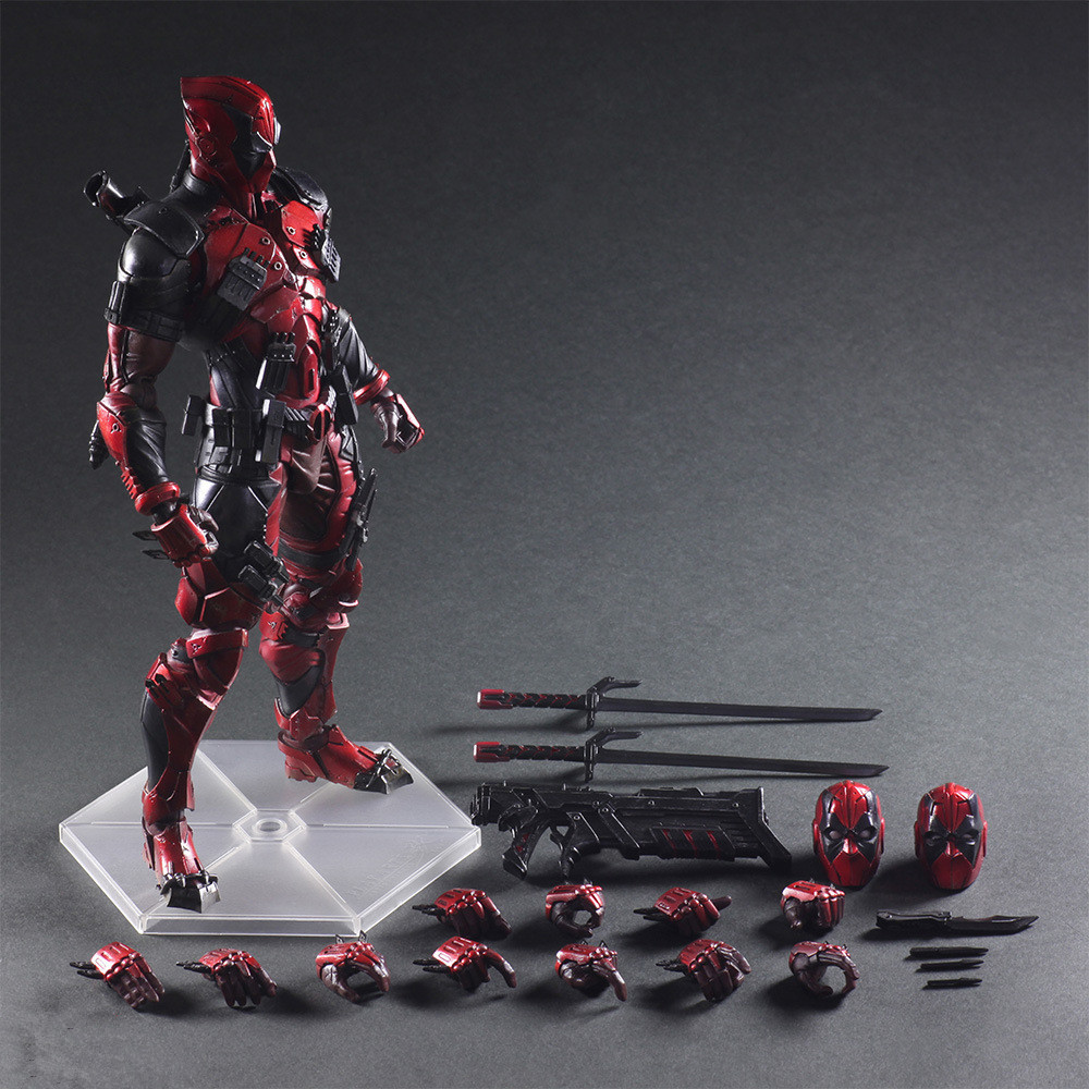 Play Arts Kai Deadpool Figure Wolverine X Men Deadpool Wade Winston Wilson Play Art KAI PVC Action Figure 26cm Doll Toy cute 6cm deadpool reading figure model toy wade winston wilson deadpool pvc figure collection gift