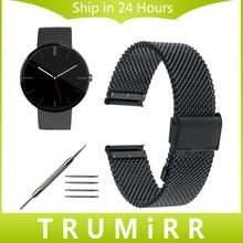 20mm venda de reloj de pulsera correa de acero inoxidable para moto 360 milanese 2 42mm samsung gear s2 classic r732 r735 pebble vez
