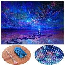 5D DIY Алмазная картина голубая звезда небо крест аксессуары для вышивания Вышивка природные Складки Стразы картина-пейзаж полный квадрат