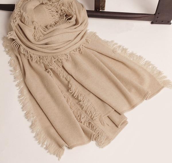 3c5f3801a73 Top qualité 100% cachemire femmes de boutique écharpe châle pashmina grand  bavures tous couleur assortie solide 75x215 cm dans Foulards de Vêtements  ...