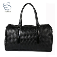 Knitting Pattern Black Leather Large Travel Bag Men Women Luggage Travel Bags Duffle Bag Maletas De
