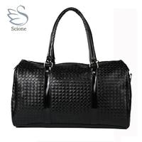Knitting Pattern Black Leather Large Travel Bag Men Women Luggage Travel Bags Duffle Bag Maletas De