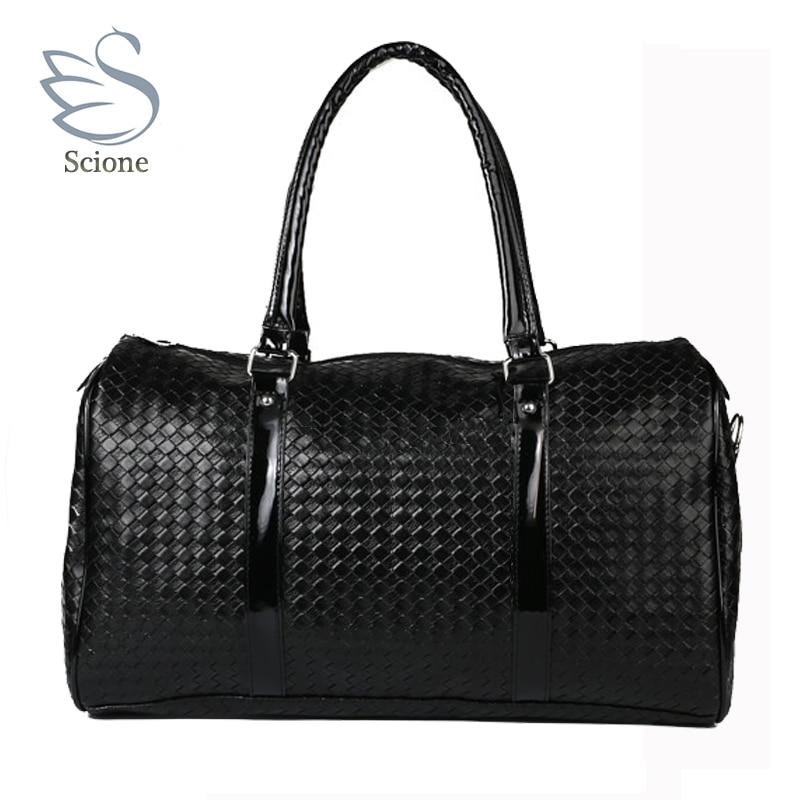 Mujeres viaje del equipaje bolsas patrón de tejer cuero de gran ...