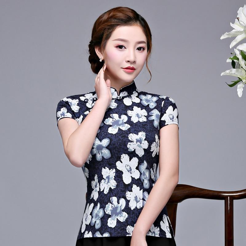 Primavera Collar 1 Mujeres Para S Qipao Corto style Cheongsam 2 Tops xxxl Ropa Blusa Mandarin style 3 Vestido Camisa Dama Estilo Chino 2019 Style dwp8qp