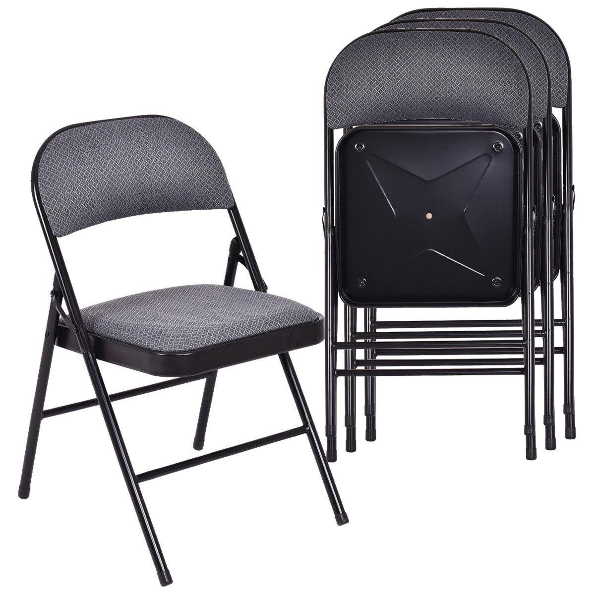 Costway lot de 4 chaises pliantes tissu rembourré siège rembourré cadre en métal bureau à domicile