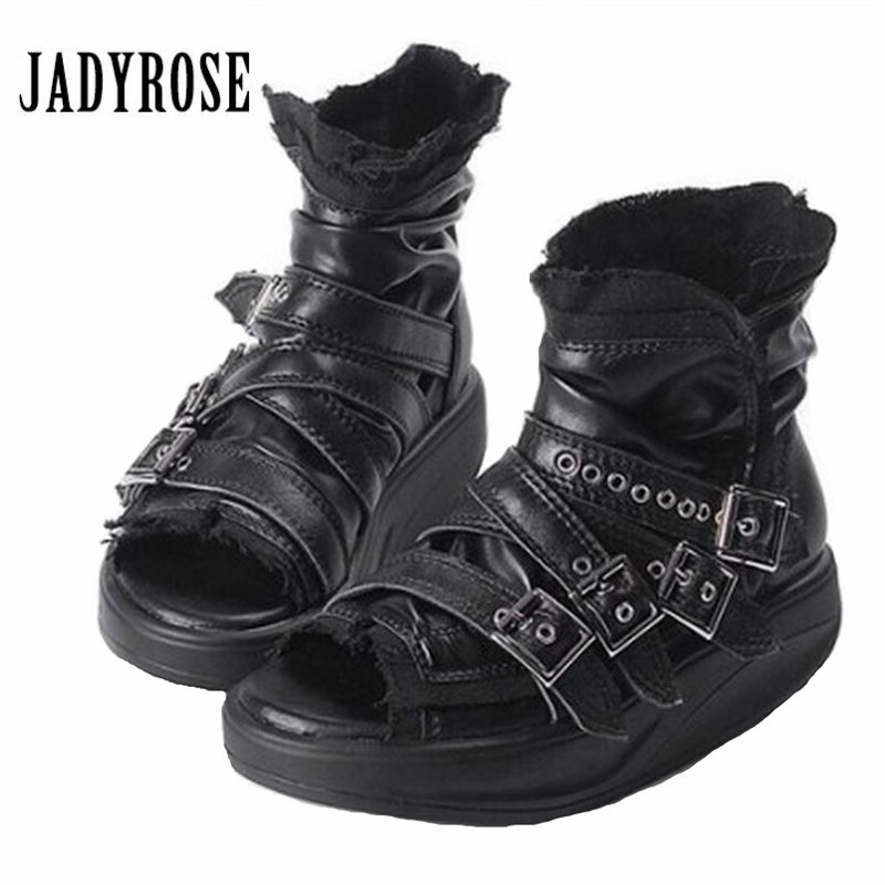 Jady Rose Punk Style Women Peep Toe Summer Boots Genuine Leather Platform Sandals Female Gladiator Sandal Ankle Booties Creepers choudory bohemia women genuine leather summer sandals casual platform wedge shoes woman fringed gladiator sandal creepers wedges