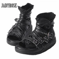 Jady Rose Punk Style Women Peep Toe Summer Boots Genuine Leather Platform Sandals Female Gladiator Sandal Ankle Booties Creepers