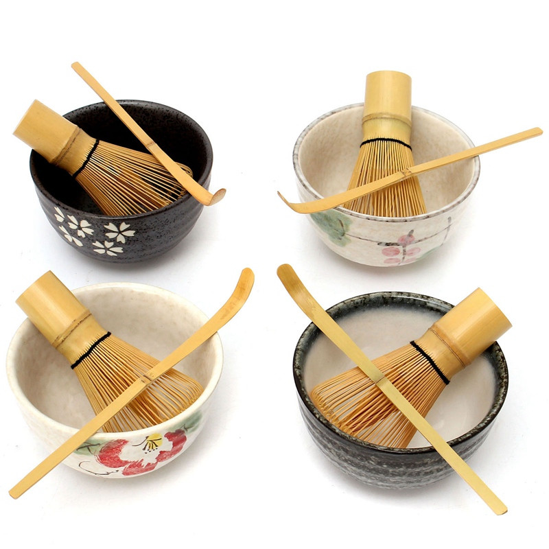 [GRANDNESS] Tea Ceremony Matcha Ceramic Tea Bowl Bamboo Tea Scoop Matcha Whisk Japanese Teaware Tea Tool 4 Style Matcha Bowl Set