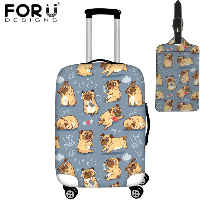 FORUDESIGNS New Travel On Road Luggage Cover Cute Funny Pug Pupies Luggage Protector Suitcase Protective Covers Waterproof Cover