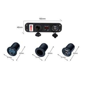 Image 5 - 자동차 충전기 듀얼 USB 어댑터 12V 담배 라이터 소켓 LED 전압계 스위치 2019 새로운