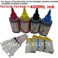 73 73N Многоразового картридж для EPSON Stylus C79 C90 C92 C110 CX3900 CX3905 CX4900 CX4905 CX5500 + для EPSON Дей чернил 400 МЛ