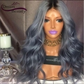 T1b/Grey Ombre Human Hair Wigs 130% Density Wavy Full Lace Wigs Middle Part Grey Ombre Front Lace Wigs With Baby Hair