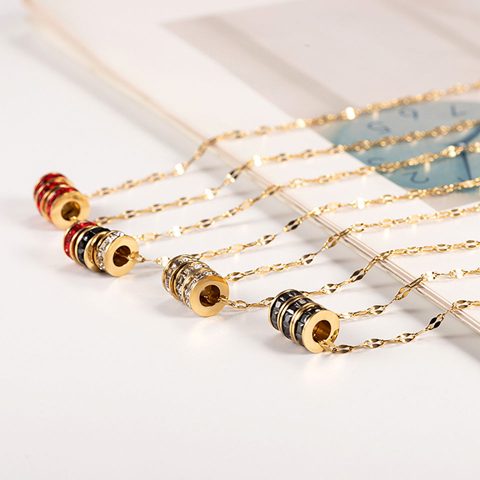 Three Loop Pendant Necklace Titanium Stainless steel Chain Necklace Gold Color Inlaid Zircon Fashion Women Jewelry in Pendant Necklaces from Jewelry Accessories